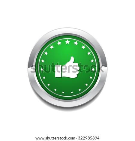 Thumbs Up Circular Vector GreenWeb Icon Button - stock vector