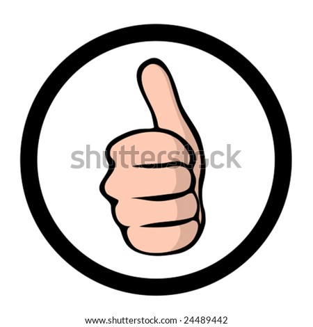 thumbs up, comic style icon - stock vector