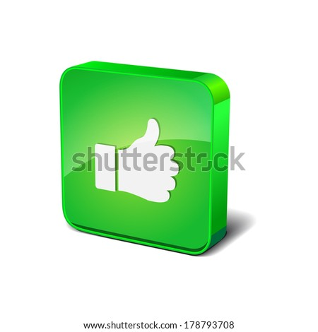 Thumbs Up 3d Rounded Corner Green Vector Icon Button - stock vector