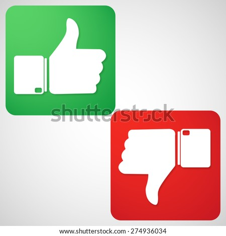 Thumbs up & down buttons - stock vector