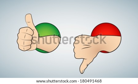 thumbs up & down eps10 - stock vector