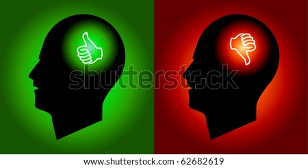 Thumbs Up & Down Signs in Human Heads - stock vector