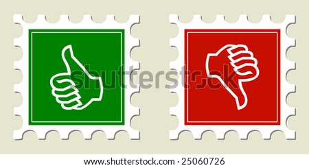 Thumbs Up & Down Stamps - stock vector