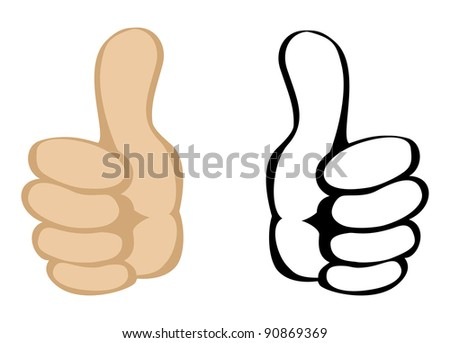 Thumbs up gesture. Vector - stock vector