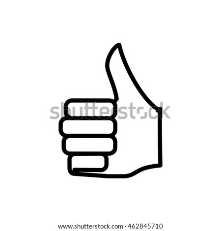 thumbs up hand finger gesture palm silhouette icon. Isolated and flat illustration. Vector graphic