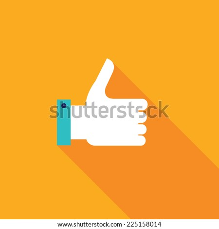 Thumbs up icon. Colorful modern flat design for your business. Like button. Vector illustration - stock vector