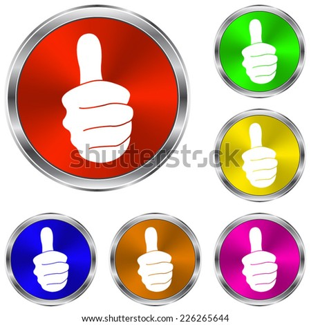 thumbs up  icon - vector glossy colourful buttons - stock vector