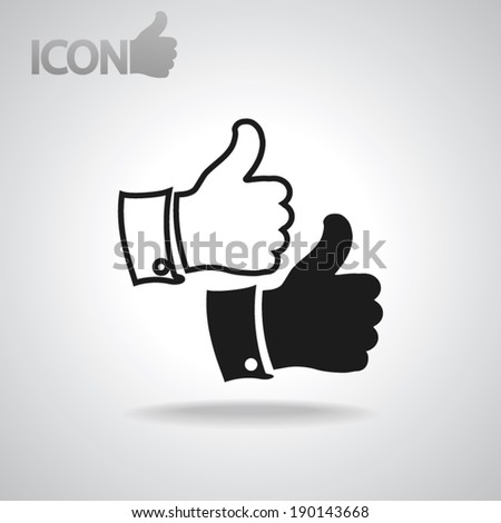 thumbs-up icon , vector illustration. Flat design style   - stock vector
