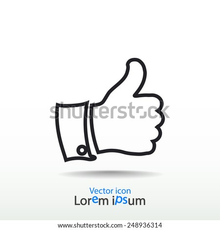 Thumbs up icon, vector illustration. Flat design style   - stock vector
