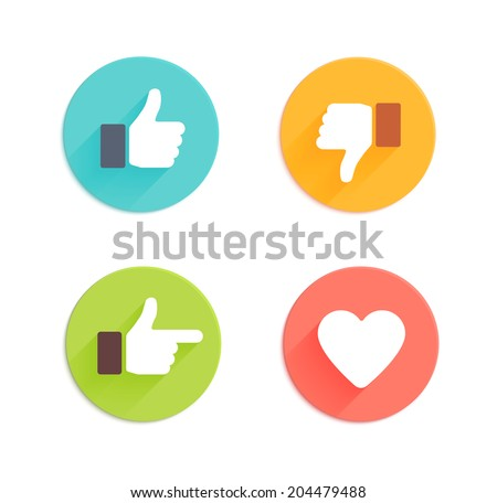 Thumbs up icons set. Flat style social network vector icon for app and web site. Like, dislike, heart icons with long shadow - stock vector
