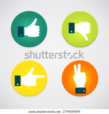 Thumbs up icons set. Flat style social network vector icon for app and web site. Like, dislike, pointer, peace icons - stock vector