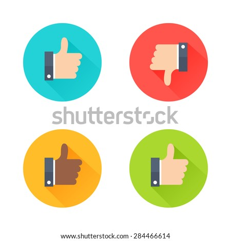 Thumbs up icons set. Flat style social network vector icon for app and web site. Like, dislike, dark-skinned like icons with long shadow isolated on white background - stock vector