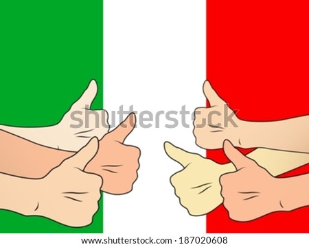 thumbs up italy eps10 - stock vector