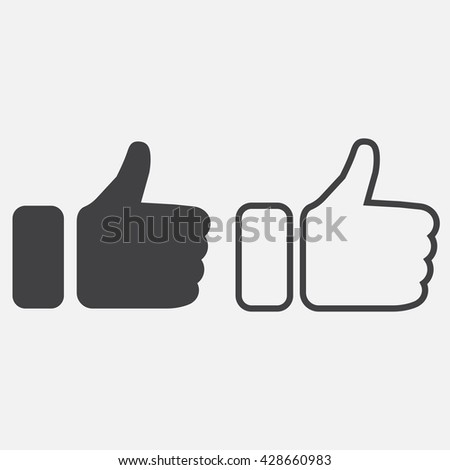 thumbs up line icon, outline and solid vector logo, linear pictogram isolated on white