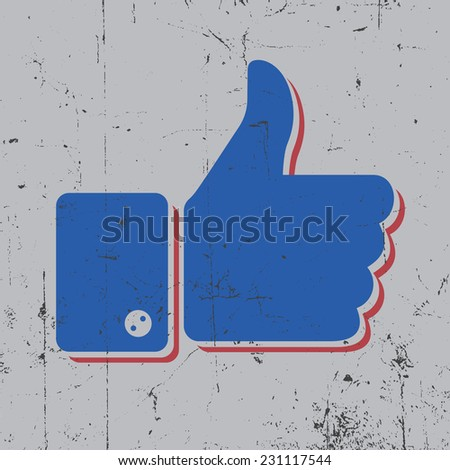 Thumbs up modern like icon, design for t-shirt - stock vector