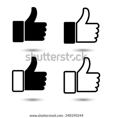 thumbs up or like hand vector icon in black and white for social media websites and mobile apps.