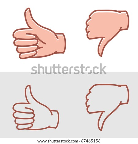 thumbs up or thumbs down as approval or disapproval icons vector - stock vector