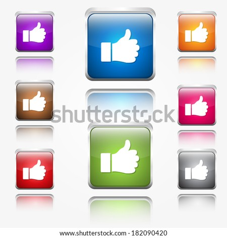 Thumbs Up Round Corner Vector Web Icon Button Set - stock vector