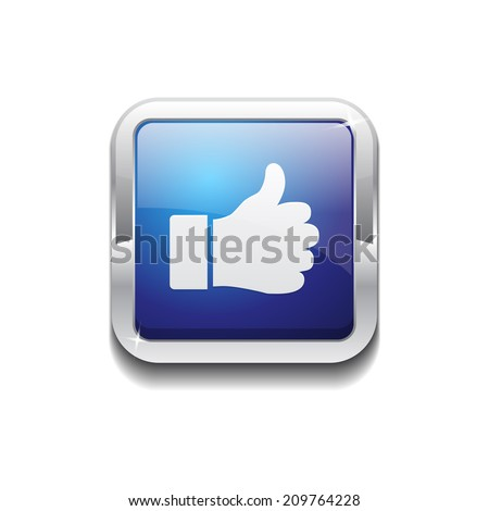 Thumbs Up Rounded Corner Vector Blue Web Icon Button