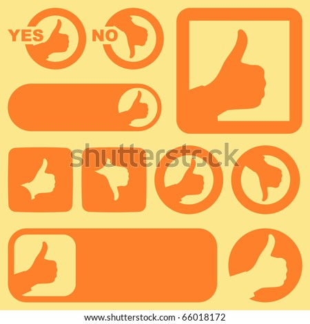 Thumbs up. Set of design elements. - stock vector