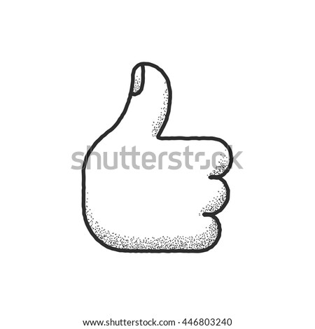 Thumbs up sketch icon with vintage texture. Hand drawn cartoon icon isolated on white.