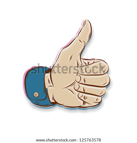 Thumbs Up symbol hand drawn isolated on white - stock vector