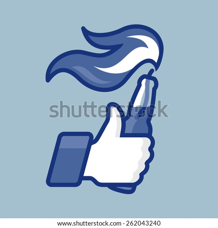 Thumbs Up symbol icon with bottle and flame, vector illustration.  - stock vector