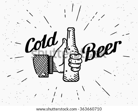 Thumbs up symbol icon with cold beer bottle like gesture. Retro beer bottle drinks for friends with handwritten lettering for logo on grunge background. Cold alcohol beer party  vector illustration  - stock vector