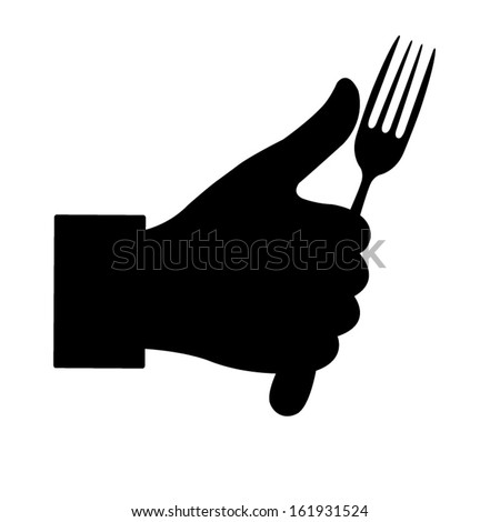 Thumbs Up symbol icon with fork - stock vector