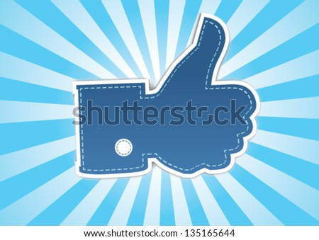 thumbs up symbol on a retro rays background - stock vector