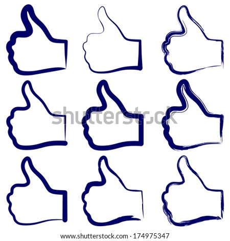 thumbs up symbol set vector illustration