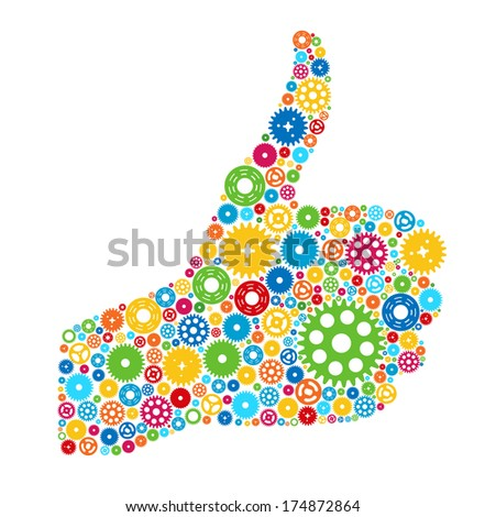 Thumbs Up Symbol, Which is Composed of Colour Gears. Vector illustration - stock vector
