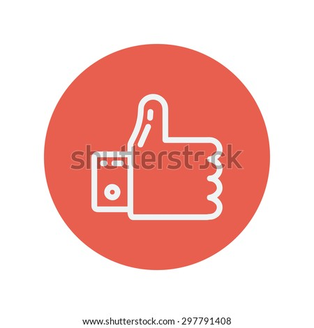 Thumbs up thin line icon for web and mobile minimalistic flat design. Vector white icon inside the red circle. - stock vector