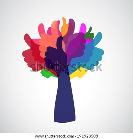 thumbs up tree eps10 - stock vector