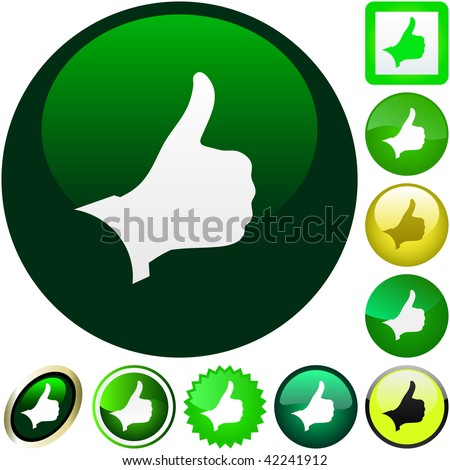 Thumbs up. Vector button.