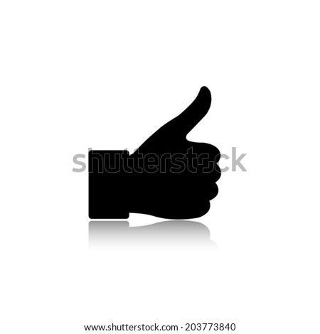 thumbs up - vector icon with shadow - stock vector