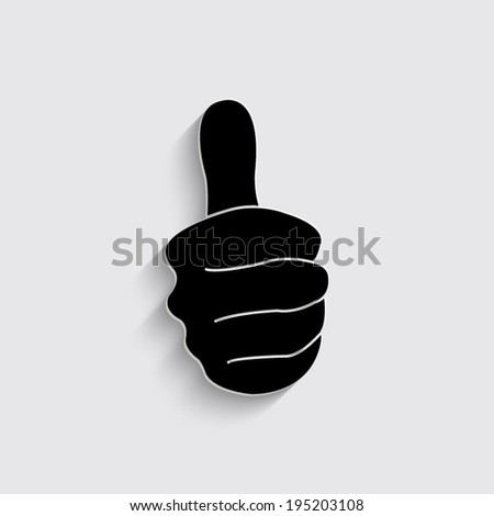 thumbs up - vector icon with shadow on a grey background - stock vector