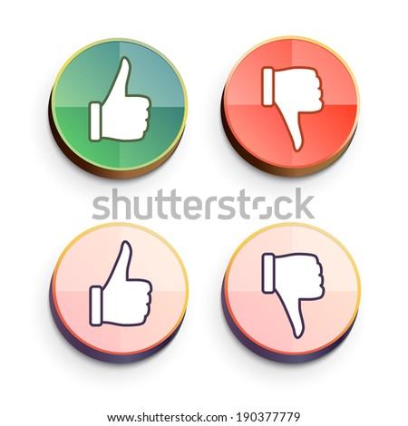 Thumbs Vector Like Dislike Symbol Shiny Stock Vector 190377779