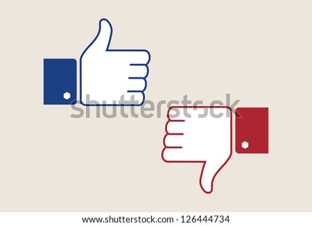 thump up & thumb down vector symbols - stock vector