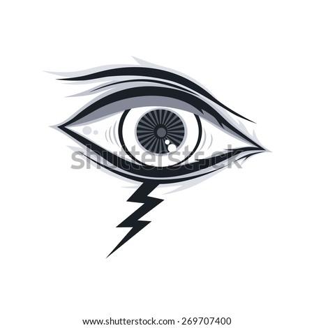 thunder bolt eye - stock vector