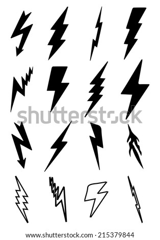 Thunder Bolt Icons - stock vector