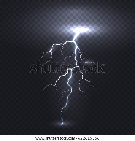 Thunder Energy Realistic Electricity Lightning Flash Stock Vector