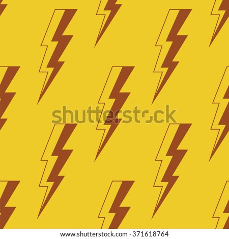 Thunder Lighting. Seamless vector pattern. Abstract background about energy, power and speed. Red and yellow colors. Lightning bolt cartoon shapes.  - stock vector