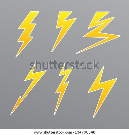 thunder set icon vector - stock vector