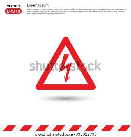 Thunderbolt danger high voltage signs - Red triangle Traffic sign icon - stock vector
