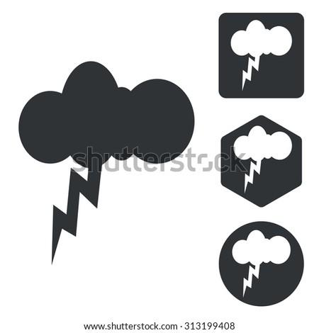 Thunderbolt icon set, monochrome, isolated on white - stock vector