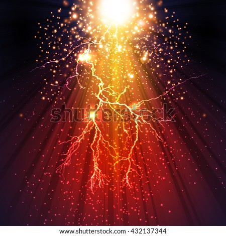 thunderbolt, stage, light, spotlight, flash scene illustration easy all editable - stock vector