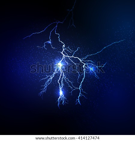 Thunderstorm and lightnings Magic and bright lighting effects - stock vector