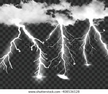 Thunderstorm Background With Cloud and Lightning, Vector Illustration - stock vector
