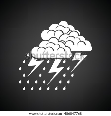 Thunderstorm icon. Black background with white. Vector illustration.